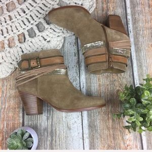 Aldo Leather Boho Heeled Ankle Booties